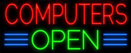 "Computers Open Neon Sign Lighting Customized Hand-crafted Real Glass Tube Store Shop Company Business Dsiplay Advertising Neon Signs 17""X10"""