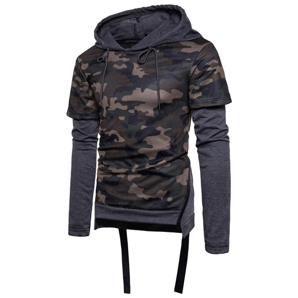 Faux two-piece 2017 men-fall winter casual Hoodies Sweatshirts 2 in 1 The pullover shirts of false two camouflage jumper