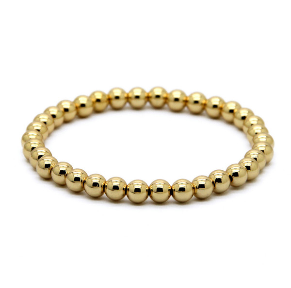 Hot Sale 1PCS 6mm Natural Stone Beads Jewelry Real Gold Plated Round Copper Beads Men's Bracelets Best Gift