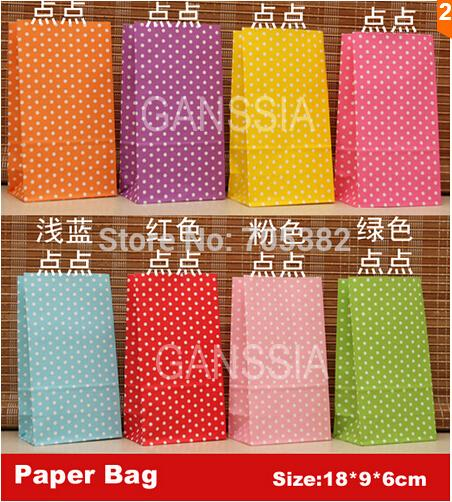 Wholesale-(One lot one color, pls choose color)18x9x6cm Polka dot kraft dot no handle gift paper bag Package bags Daily supplies(tt-1544)