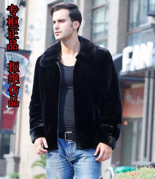Automne-noir chaud occasionnel court faux manteau de fourrure de cachemire faux vison mens veste en cuir hommes manteaux Villus hiver lâche thermique survêtement 3XL