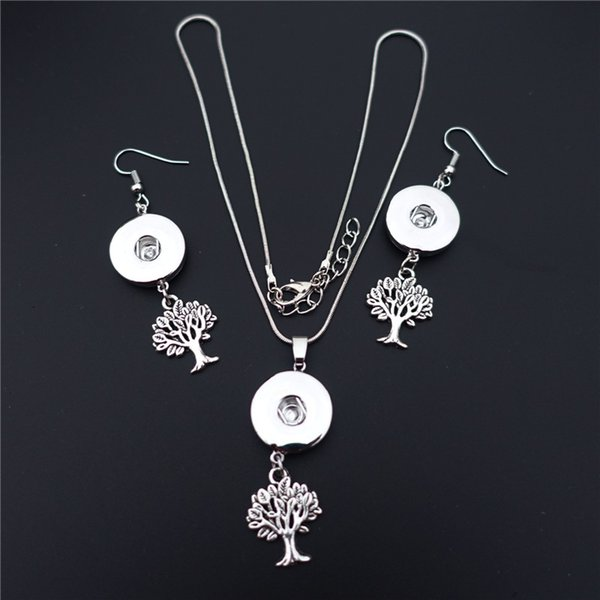 12 sets/lot Fashion Small Tree Of Life Noosa Chunks Metal Ginger 18mm Snap Button Necklace Earrings Jewelry Set For Women Gift