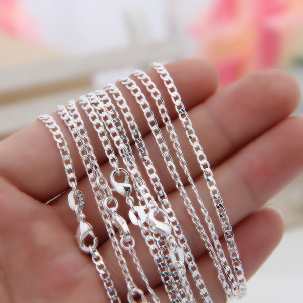 """best selling Wholelsale 10pcs lot 925 Sterling Silver Curb Chains 2MM Women Lady Necklace Chains Jewelry 16-30"""" Bulk"""