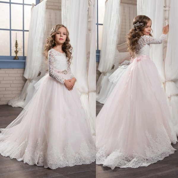 Princess Pink Tulle Flower Girls Dresses For Weddings Long Sleeve Lace Children First Communion Dress With Crystal Sash Cheap Pageant Gowns
