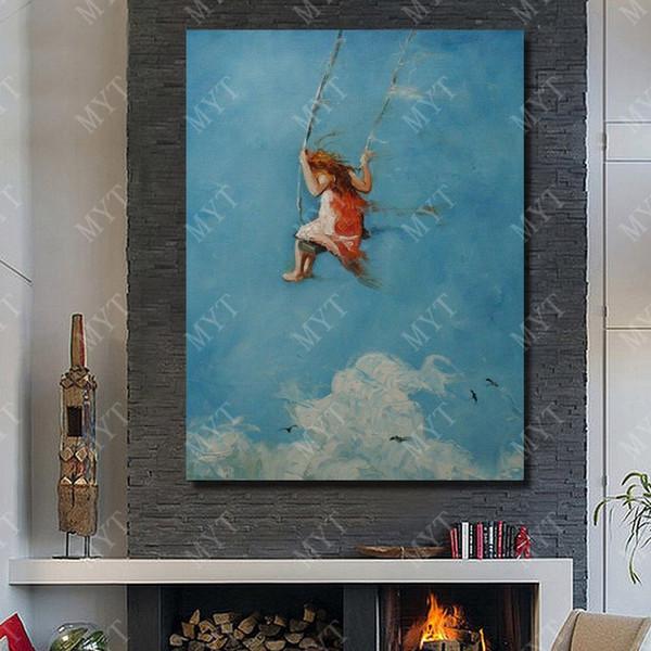 Acheter Mur Art Peinture à La Main Abstraite Moderne Heureuse Fille Peinture à L Huile Chambre Mur Décor De Haute Qualité Peinture à L Huile Sur Toile