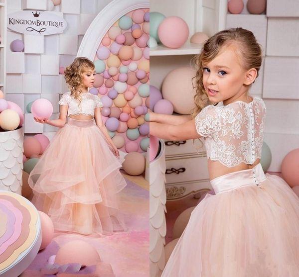 Compre 2017 Cheap Blush Rosa Dos Piezas De Encaje Vestido De Bola ...