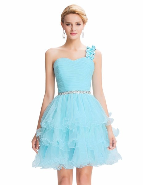 2019 Blue Turquoise slice Cocktail Dresses Ruched bodice Organza One Shoulder Party Gowns with Three Bow-knots Strap Ball Gown Party Dress