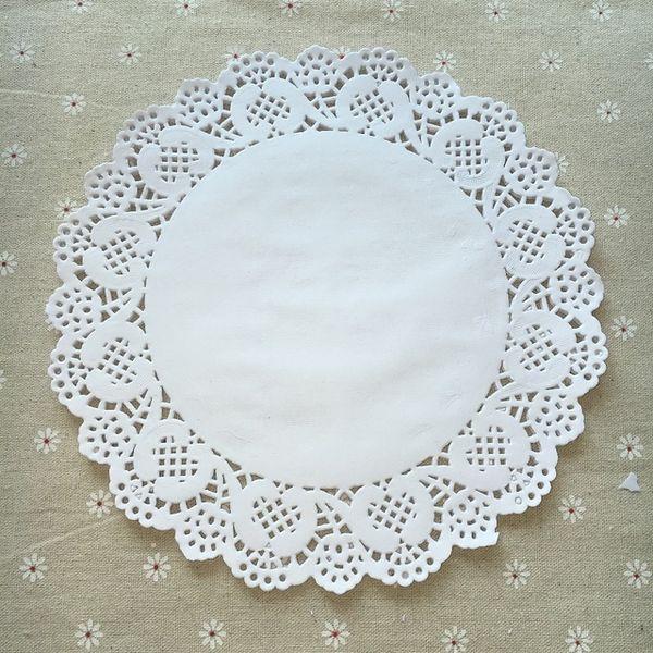 Wholesale- 100pcs 9.5inch diameter 24cm white round paper Lace Doilies paper Cake Placemat baking decoration Creative Craft napkins