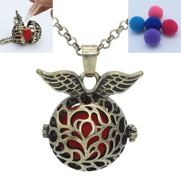 Antique Bronze Angel Wing Hollow Flower Locket Cage Pendant For Essential Oil Aromatherapy Diffuser Chain Necklace Jewelry Charms Gift