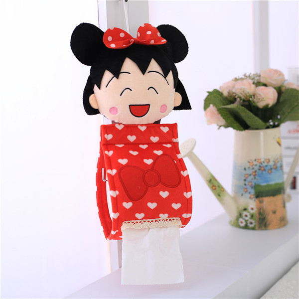 Wholesale- Cute Cartoon Bathroom Cover Roll Box Plush Tissue Box Holder Toilet Paper bathroom/office/car/restaurant Hanging paper Canister