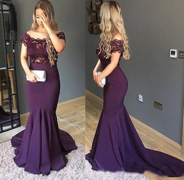 Purple Mermaid Evening Dress Off the Shoulder Plus Size Arabic Prom Party Dress Top Lace Evening Gowns