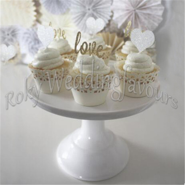 Free Shipping 100PCS Gold LOVE Glitter Cupcake Picks Wedding Supplies Party Cupcake Picks Topper LOVE Toothpicks Favors Table Decoration