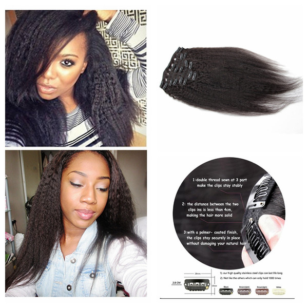 8pcs African American clip in peruvian human hair extensions kinky straight virgin hair weave 10-30inch natural black 100g