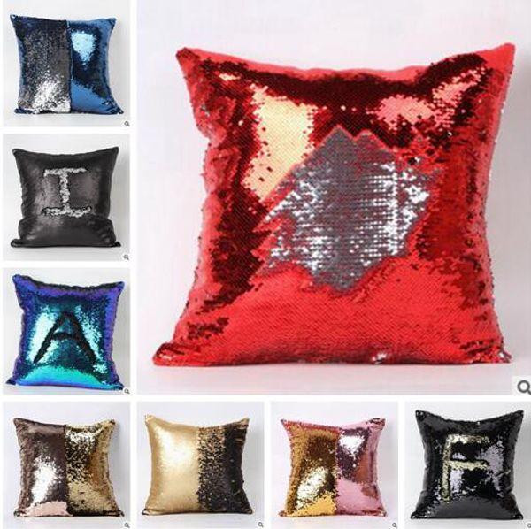 Sequins Pillow Case 2 Tone Color Sequin Pillow Pearl Sequin Reversible Iridescent Glow Mesmerized Pillows Home Decorative Pillow Covers 339