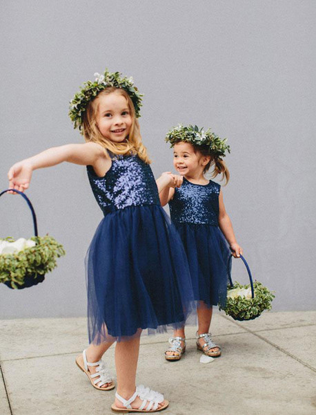 Cheap Short Navy Blue Flower Girls' Dresses Knee Length Child Birthday Clothing Sequined Tulle Pageant Gown 2017-2018