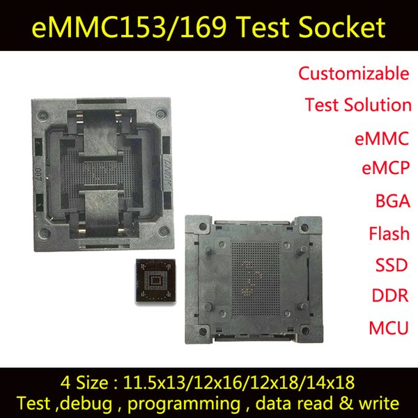 2019 EMMC Test Socket, Burn In Socket,For BGA153 And BGA169 Testing, EMMC  Adapter,EMMC Data Reading And Re Writting,For Cellphone Data Recovery From
