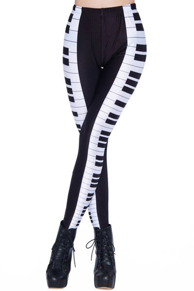 best selling Free shipping fashion women's black music leggings pants piano keyboard music notes printed elastic body building Girl sexy Leggings pants