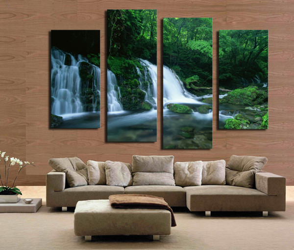 4 panel Green Tree With Waterfall Landscape Large HD Picture Modern Home Wall Decor Canvas Print Painting For House Decorate