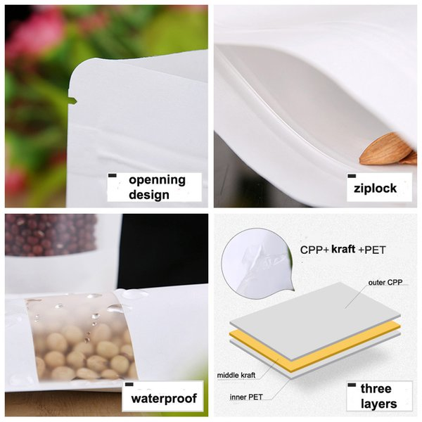 nice quality Moisture-proof Bags,Kraft Paper with three layer white color, Ziplock Packaging Bag size 10*15 500pcs/lot free shipping by DHL