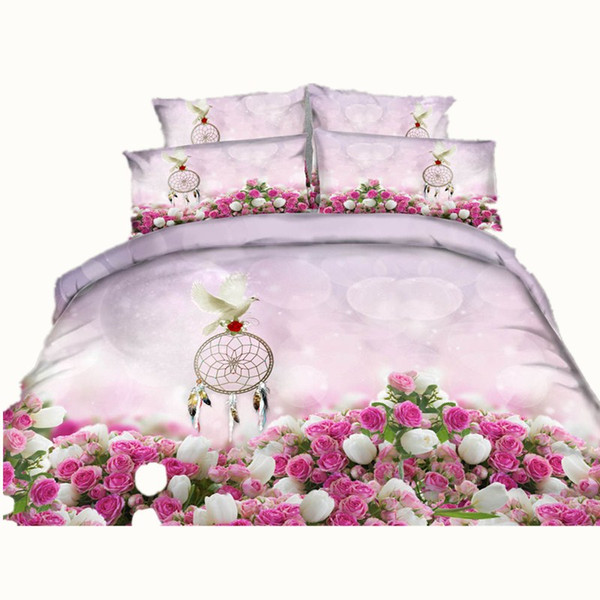 White Doves Pink Rose 3D Printed Bedding Sets Twin Full Queen King Size Bedclothes Bedspreads Duvet Covers Animal Flower 600TC Bird Fashion