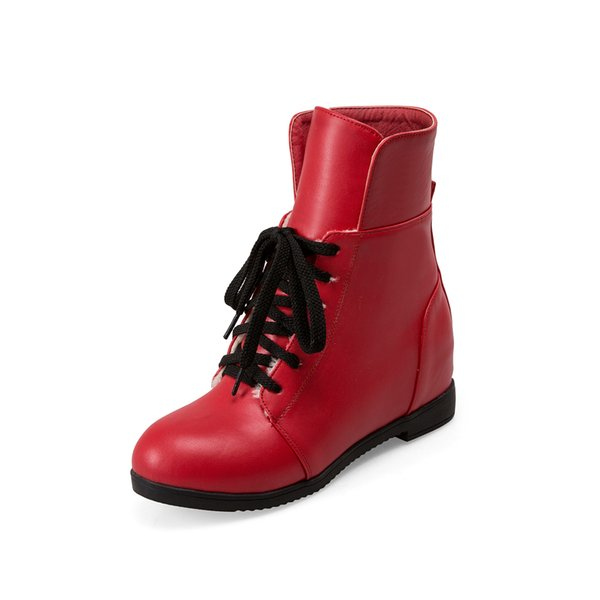 Autumn and Winter European Station Korean version College style New low heel Round head solid Color recreational Boots HUIHAO 161