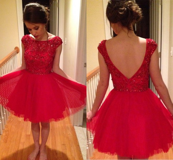 Cap Sleeves Short Homecoming Dresses Crystal Beaded Pleated Tulle White Red Navy Blue Short Prom Dresses Graduation Dresses Sweet 16 Dresses