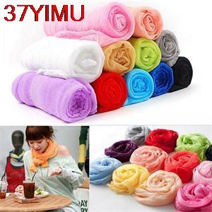 Wholesale- 37YIMU-Solid Long Warm Scarf Shawl For Women Winter Fall Silk Blend Women Scarf Fashion Casual Women Scarves 16 Colors