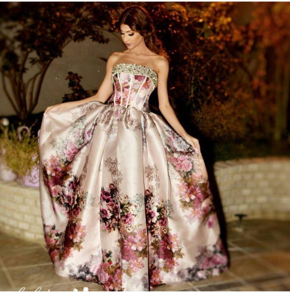 2016 Petal Power Printed Evening Dresses Mariam Fares Ball Gown Strapless Beaded and Sequins Neck Floor Length Evening Gowns