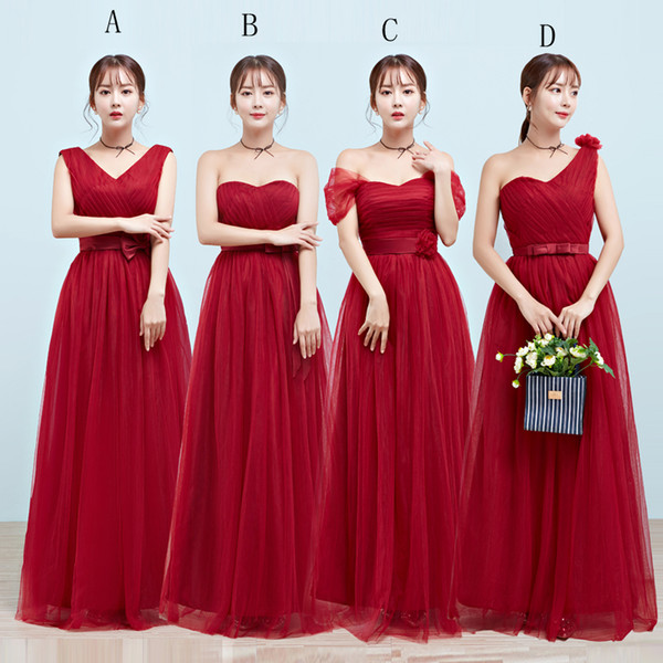 Long Tulle A Line Bridesmaid Dress Lace Up 2017 New Pleated Wedding Party Dress Burgundy Or Customized