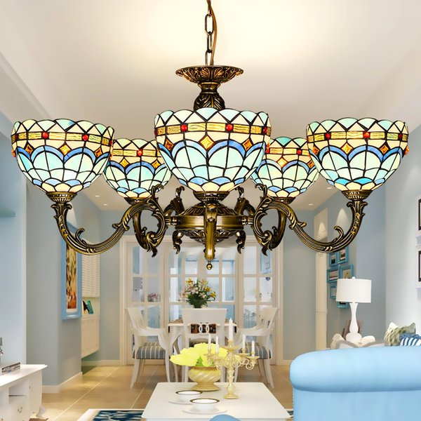 tiffany chandelier stained glass pendant lamps art dining room lights hand made blue living room lighting - Tiffany Chandelier