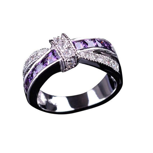 Women's Fashion Purple Gems Cubic Zirconia Wedding Ring