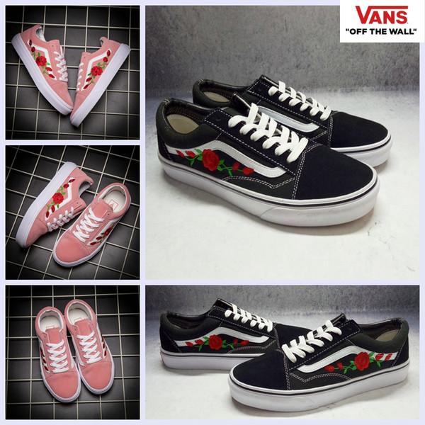 99346c8f4622fa Wholesale 2017 Vans AMAC Customs Embroided Rose Pink High Top Shoes Women  Men Black White Classic