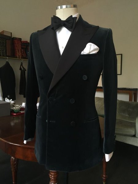 2016 Novo Preto Double Breasted Velvet Smoking estilo Britânico Custom Made Mens Terno Slim Fit Blazer Ternos de casamento para homens (terno + calça)