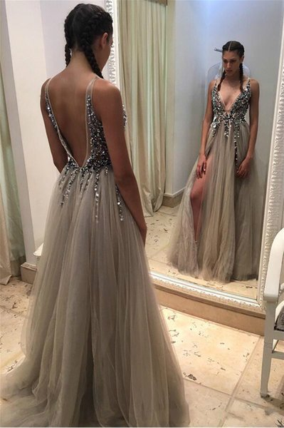 Sexy Deep V-neck Front Slit Evening Dresses Party Formal Crystals Open-Back Beads 2018 Long Prom Dresses Custom Robe De Soiree Pageant Gowns
