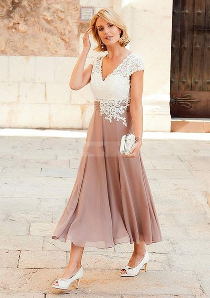 2017 New Plus Size Lace Mother Of The Bride Dresses V-Neck Cap Sleeve Backless Tea-Length Formal Wedding Guest Dresses Chiffon Mother Dress