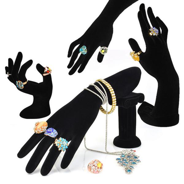Anel em forma de mão Stand Titular Bracelet Bangle Rack Anéis de Exibição de Jóias Prateleira de Veludo Preto Feminino Manequim Mão