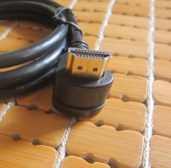 100pcs /lots 90 Degree Up Direction Angled HDMI Male to 90 Degree HDMI Male HDTV Cable for Monitor Projector 1 m
