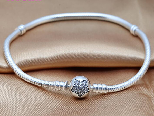 2019 newest Silver Star bracelets,Genuine 100% 925 Sterling Silver Snake chain with clear CZ DIY women jewelry fit for brand beads charms