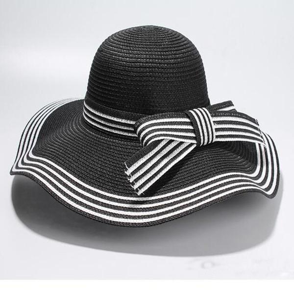 dd405168a93f Wholesale- New Summer Elegant Bowknot Sun Hat Black White Striped Straw Hat  Beach Vacation Shade