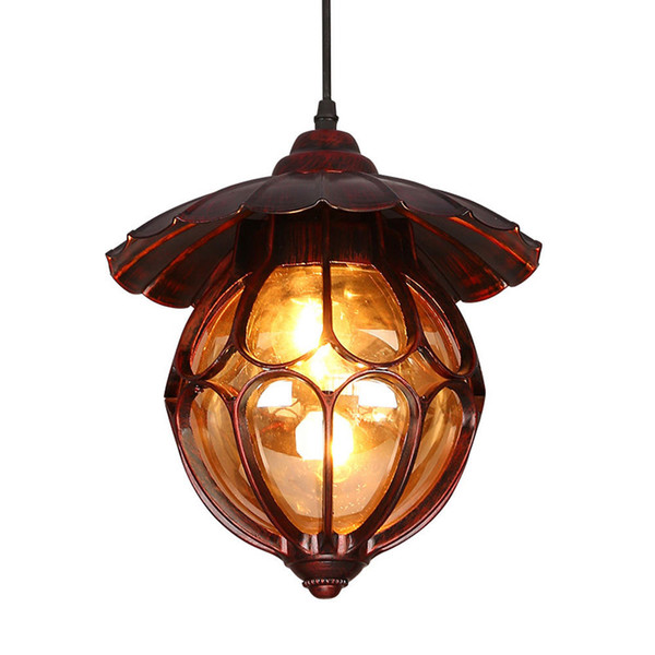 American Red Bronze Metal Umbrella Corridor Pendant Lights Creative Cloakroom Hallway Ceiling Pendant Lamp Vintage Industrial Balcony Lamps