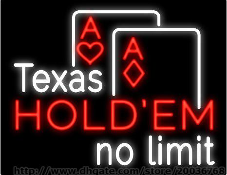 "Texas Hold Em Poker No Limit Neon Sign Custom Real Glass Tube Casino Bar KTV Club Pub Advertisement Display Sign 30""X24"""