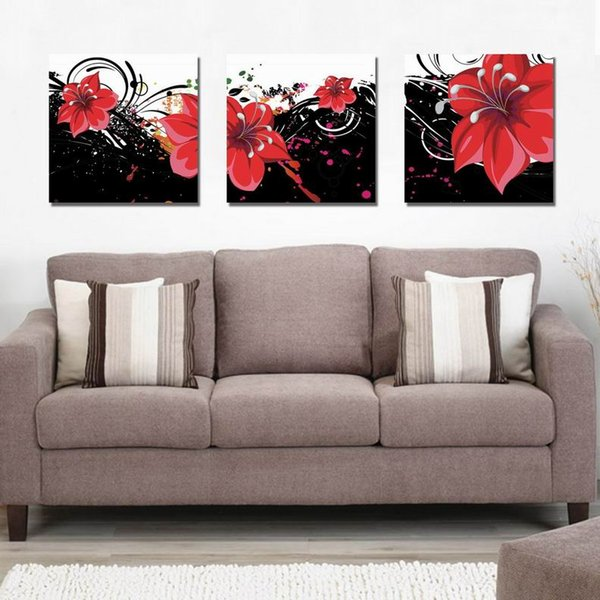 Modern Beautiful Flower Fine Floral Painting Giclee Print On Canvas Home Decor Wall Art Set30345