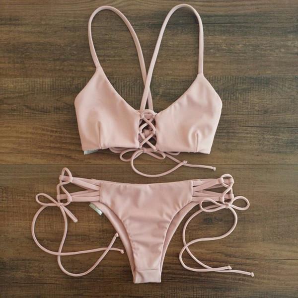 best selling Sexy Swimwears Strappy Bandage Swimsuit Cheeky Thong Bottom Lovely Pink Bikini Sets Brazilian Cord String Caged Biquini Criss Cross Swimwear