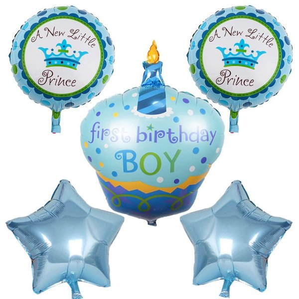 5pcs/lot Happy birthday decorations Cake foil Balloons pink blue helium balloon Inflatable birthday globos baby shower air balloon
