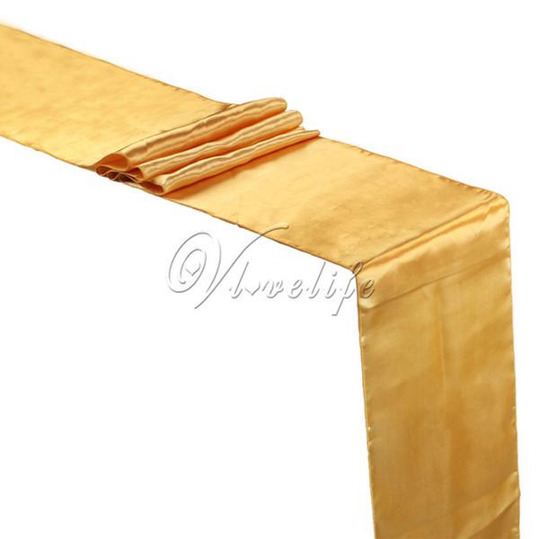 Großhandels- Freies Verschiffen-neuer Goldsatin-Tabellen-Läufer 12