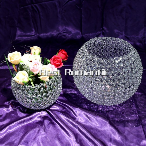 10cm biggiest diameter )New Arrival glass crystal ball Candlestick wedding party table decoration shiny silver finish wedding candle holder