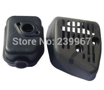 ( Muffler+ Muffler Cover ) fits Honda GXV160 GXV140 lawn mower free shipping replacement part #18320-ZG9-M01