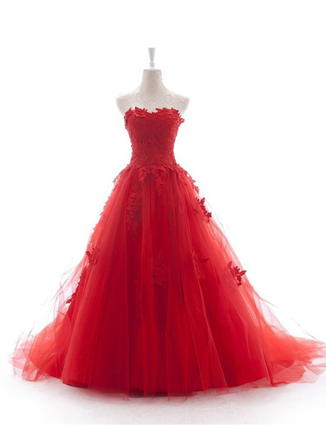 Latest Style Red Wedding Dresses 2017 Strapless Appliques Lace Tulle A-line Long Bridal Gowns vestido de noiva Custom Made W081