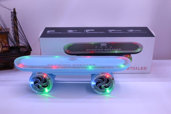2016 DHL free shipping Creative with lights outdoor scooter wireless bluetooth audio card speakers BT03LED subwoofer player