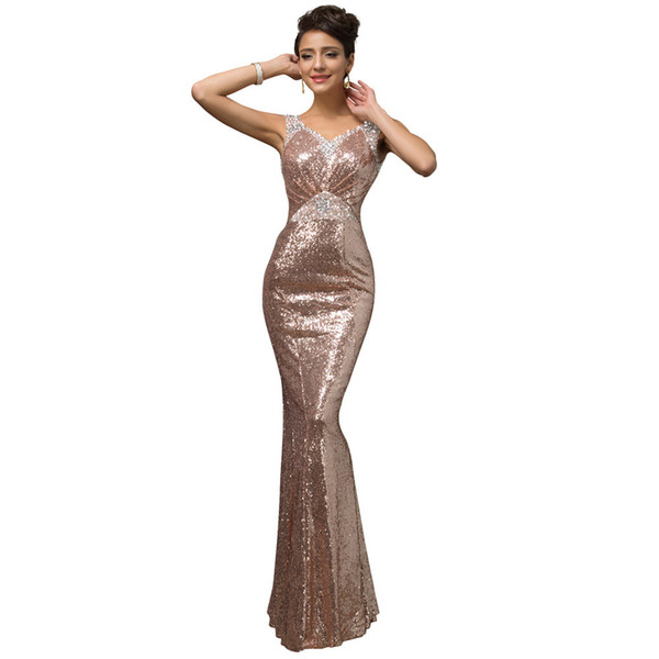 2019 Newest Chic Designer One Piece Girls Party Gowns Beaded Mermaid Sequin Evening Dresses Corset Long Prom Dress Robe de soiree